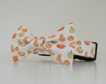 Bow Tie Dog Collar Watercolor Pumpkin Halloween Thanksgiving Fall Collar Made to Order