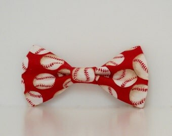 Red Baseballs St. Louis Cardinals Dog Bow Tie Made To Order