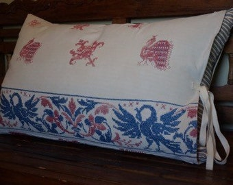 antique pillow, 1800's embroidered linen, decorative country pillow