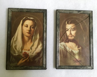 Antique Religious Catholic Mary Magdalene Jesus Virgin Mary Sacred Heart Framed Pictures