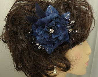 Bridal Fascinator, Midnight Blue Clip, Charmeuse Hair Clip, Wedding Accessory, REX16-203HC