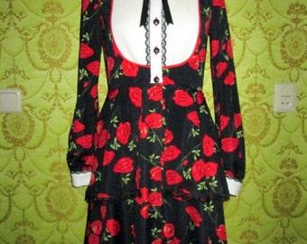 Fall Bohemian style floral print layered dress