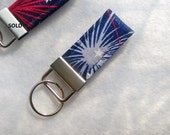Patriotic ~ Men's Key Fob ~ Fabric Key Chain ~ All Occasion Gift ~ Red White Blue Silver ~ Warm Sands Gift Shop