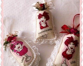 THREE Unscented Sachets, Pink Ribbon Sachets, Heart Disease Sachets, Inspirational Sachets of Whimsical Ladies