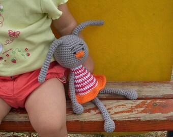 PDF Bunny Crochet Pattern - Primitive Bunny Rabbit Toy, DIY tutorial