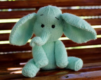 Knitted Mint Green Elephant Amigurumi Toy Doll