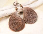 Copper paisley earrings with natural Picasso jasper, Indian earrings, Boho earrings