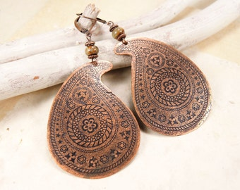 Copper paisley earrings with natural Picasso jasper, Indian earrings, Boho earrings