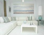 "Art, Large Painting, Original Abstract, Acrylic Paintings on Canvas by Ora Birenbaum Titled: Gray Mist 6 24x48x1.5"""