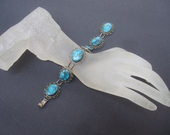 Sterling Blue Stone Link Bracelet c 1970s