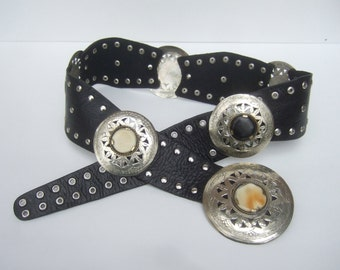Exotic Silver Metal Stone Medallion Wide Black Leather Belt