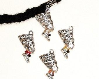 Dreadlock Jewelry - Antique Silver Nefertiti Loc Jewel [SEE NOTE & TIP in Description]