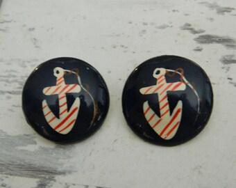 Vtg Nautical Anchor Earrings, Sailor Blue Anchor Earrings, Round Striped Anchor Earrings, Red WHite Blue Sailor, Seaworthy Earrings