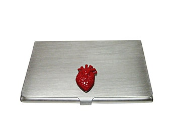 Red Anatomical Heart Business Card Holder