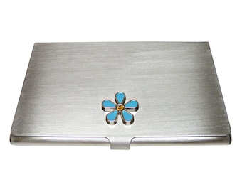 Turquoise Flower Business Card Holder