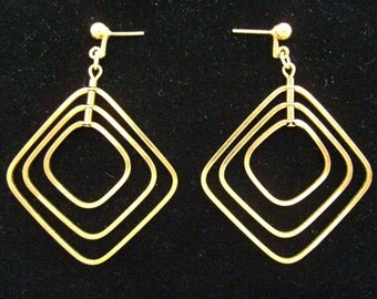 SALE 12K Gold Filled Modernist Articulated Geometric Drop Vintage Earrings Suspend in 3 Different Planes.  What Fun!  Big but Lightweight.