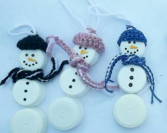 Plastic Bottle Cap Snowmen Ornaments