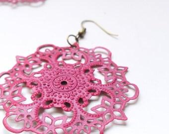 bright pink filigree statement earrings