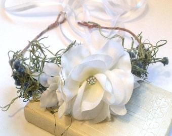 Bridal Flower Headpiece, White Rose Flower Crown, Natural Woodland Hairpiece, Wedding Headband