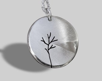 Lakeside, Tree Pendant,  Silver Jewelry, Silver Pendant, Necklace.