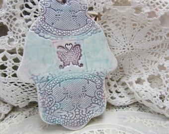 Hand Painted Purple and Turquoise Butterfly and Antique Lace Large Ceramic Hamsa Wall Hanging