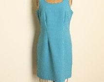 Vintage 90s Teal Blue Aqua Black Plaid Clueless Dress Heathers Preppy Grunge Punk Hourglass Summer Sleeveless XL