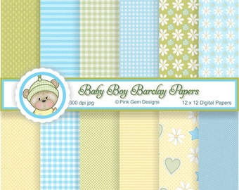 Baby Boy Barclay - Digi Papers - 12 Baby Prints  Downloadable Paper Pack. Papercrafting and Small Commercial Use