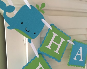 Whale Birthday Banner/Nautical Birthday Banner/ Whale Party Banner/ Turquoise/ Green/ Whale Party Package/ Whale Party