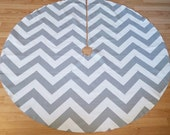 Oversize Chevron Silver and White Christmas Tree Skirt - Gray and White ZigZag Stripe