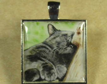 Black Cat Square Pendant/Charm