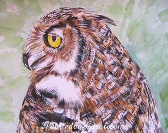 Owl Painting - Barn Owl, Bird of Prey, Original Watercolor Art Painting, Home Decor, Wall Decor