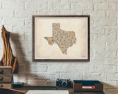Texas by County - Typography Print