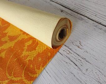 Vintage Wallpaper/ Canvas Feel/ Textured/ Wall Decor/ Home Decor/ Orange/ Gold/ Scrap Book/ Craft/ Supply/ 5 Feet/ stillstunningvintage