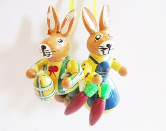 Pair of Lovely Vintage Wooden Bunny Ornaments Couple with Egg and Carrots - Home decor for Easter