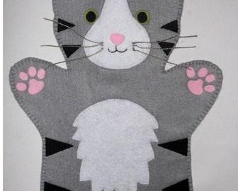 Cat Hand Puppet - Grey,Black and White - felt