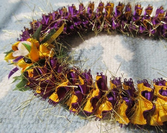Hawaiian Ribbon Lei Dark Purple and Yellow-Gold Grosgrain with Gold Sparkles