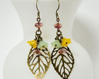 Antique Brass Leaf Earrings with Flowers, Leaf Jewelry, Nature Jewelry, Cranberry, Yellow and Mint Green