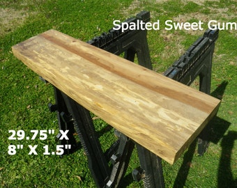 Live Edge Spalted Sweet Gum Wood Slab Finished Table Top, Natural Edge Shelving, Side Table Top, Console Table, Foyer Table, Mantle Top 2112