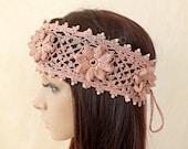 OOAK Irish Lace 3D Crochet Headband Dreadlock Head Wrap Boho Pink Rose Wood Beaded Women Ivory Wedding Bridal Cotton Hair Snood