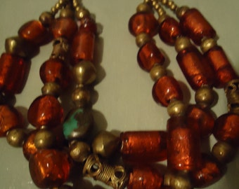 Boho Handcrafted One Of a Kind Red Fire Water In Glass Three Strand Statement Necklace