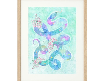 Snake with Roses - Extra Large - Limited Edition Print