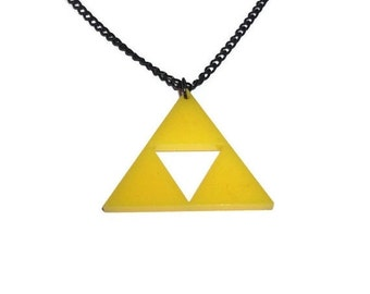 Triforce Necklace, Legend of Zelda, Yellow Laser Cut Gaming Larger Size
