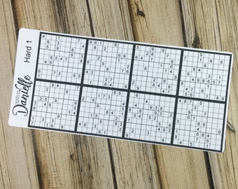 Sudoku Planner Stickers, Sudoku Puzzle Planner Stickers, Sudoku Sticker, Cute Planner Stickers, set of 8 - Hard 1