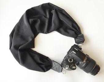 Scarf Camera Strap - plain black camera strap - dslr camera neck strap