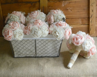 Bridal Wedding Bouquet Blush Bride Bridesmaid Bouquets set Shabby Chic Rustic Romance Peony Flowers Wedding Party Pink