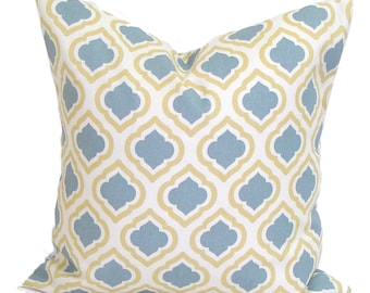 YELLOW PILLOW Sale.18x18 inch.Blue Pillow Cover.Blue Yellow Pillow.Slate Grey Pillow. Yellow Cushion Cover.Spa Blue Pillow. Blue Cushion