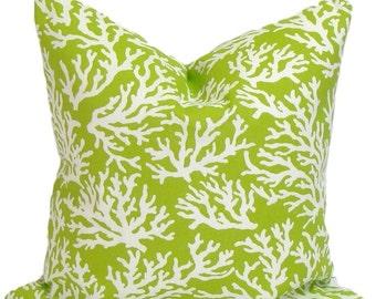 GREEN PILLOW.14x14 inch.Pillow.Pillow Cover.Decorative Pillows.Housewares.Green Outdoor Pillow.Beach Decor.Indoor.Outdoor.Bright Green.Beach