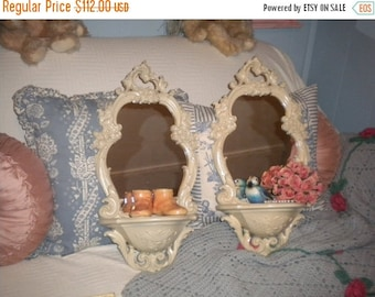 SUMMER SALE SALE......Spectacular Set of Ornate Syroco Mirror Shelves, Shabby Chic, French Country, Hallway, Baby's Room, Powder Room