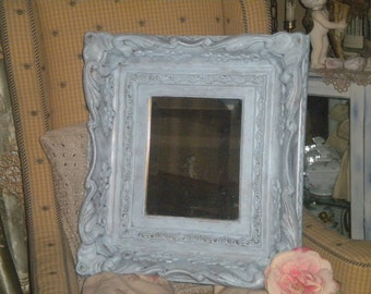 Framed Beveled Mirror, Eclectic Decor, Shabby Chic, French Country, ornate, Wood