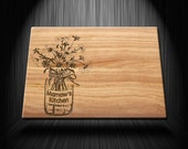 Wood Texture Style, Flower Etched Style Customized Printed Glass Cutting Board
